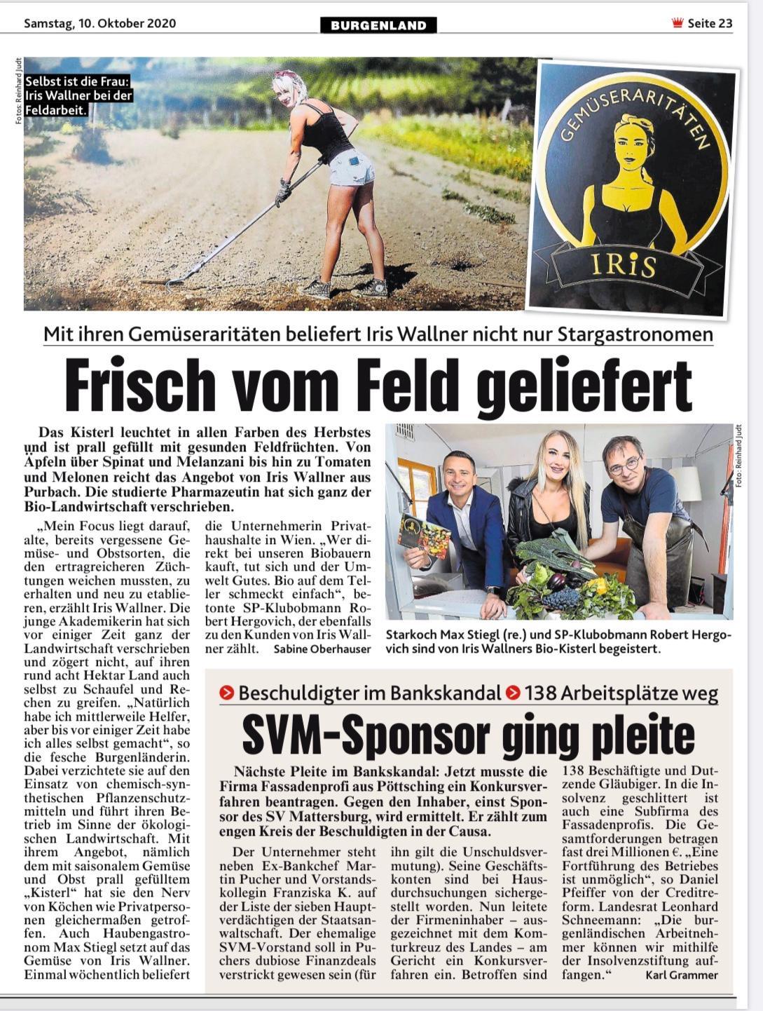Artikel über IRiS Gemüseraritäten in der Kronen Zeitung
