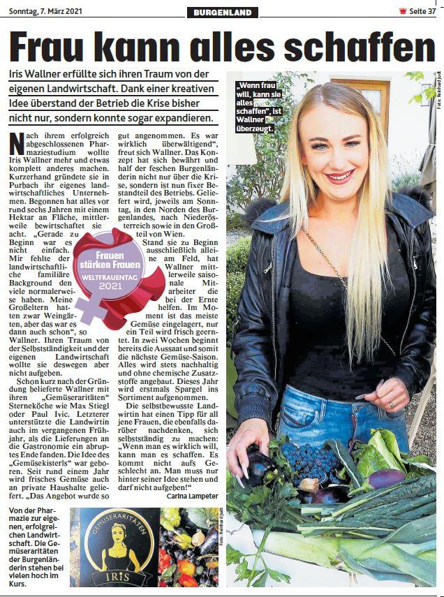 Artikel über IRiS Gemüseraritäten in der Kronen Zeitung zum Weltfrauentag